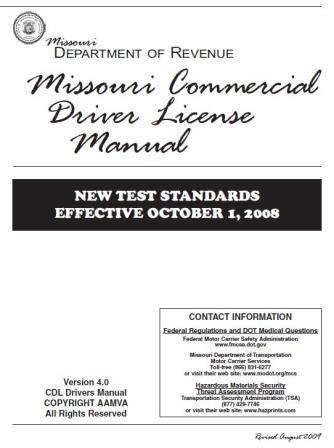 Missouri Department of Transportation Manual on Commercial Driver License
