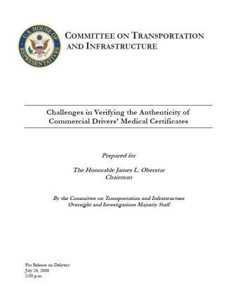 Committee on Transportation and Infrastructure's Manual Challenges in Verifying the Authenticity of Commercial Driver's Medical Certificates